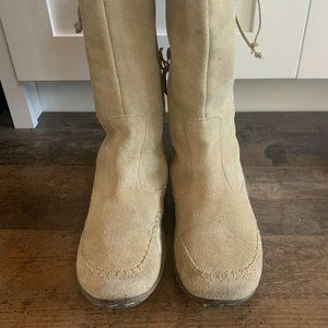 Women's FatFace Suede Calf High Boots, Khaki, 8